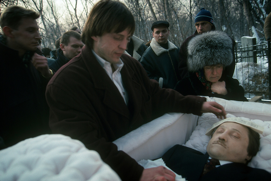 Moscow, Russia, 1994..Funeral of gang leader killed by rival gangsters in contract murder.