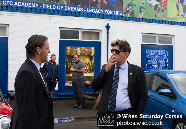 Visiting team officials arriving at the ground before Coleraine played Spartak Subotica of Serbia in a Europa League Qualifying First Round second leg at the Showgrounds, Coleraine. The hosts from Northern Ireland had drawn the away leg 1-1 the previous week, however, the visitors won the return leg 2-0 to progress to face Sparta Prague in the next round, watched by a sell-out crowd of 1700.
