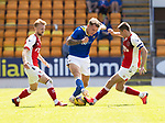 St Johnstone v Fleetwood Town…24.07.21  McDiarmid Park<br />Jason Kerr is tackled by Jordan Rossiter<br />Picture by Graeme Hart.<br />Copyright Perthshire Picture Agency<br />Tel: 01738 623350  Mobile: 07990 594431