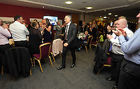 Pictured: Manager Francesco Guidolin is applauded as he makes his way to give a speech Wednesday 11 May 2016<br /> Re: Awards Dinner 2016, at the Liberty Stadium, south Wales, UK.
