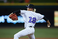 Winston-Salem Dash relief pitcher Wilber Perez (28) in action against the Hickory Crawdads at Truist Stadium on July 10, 2021 in Winston-Salem, North Carolina. (Brian Westerholt/Four Seam Images)