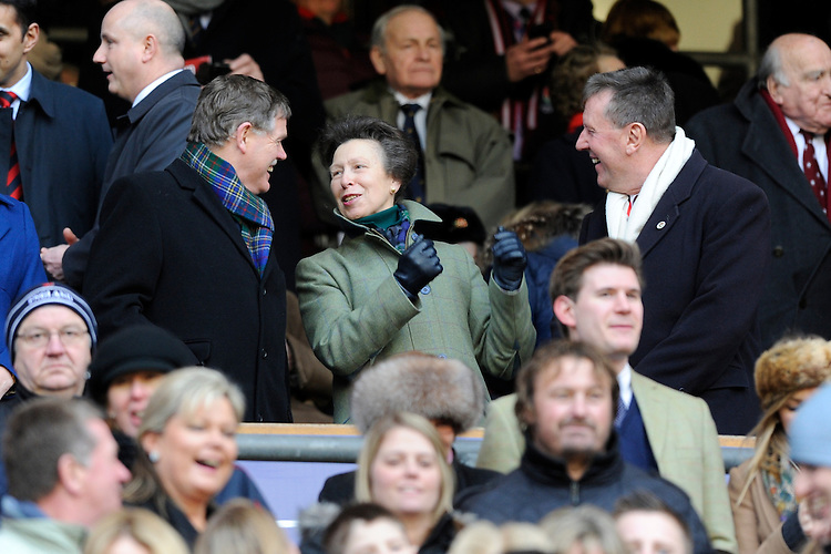 The Princess Royal looks on during the RBS 6 Nations match between England and Scotland at Twickenham on Saturday 02 February 2013 (Photo by Rob Munro)