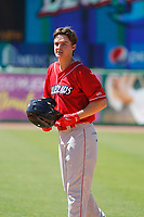 Lakewood BlueClaws outfielder Mickey Moniak (22) between innings during a game against the Charleston RiverDogs on May 3, 2017 at Joseph P. Riley Ballpark in Charleston, South Carolina. Lakewood defeated Charleston 10-6. (Robert Gurganus/Four Seam Images)