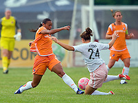 Sky Blue FC  midfielder Rosana (11) and St Louis Athletica defender Kendall Fletcher (24) battle for the ball during a WPS match at Anheuser-Busch Soccer Park, in St. Louis, MO, June 7, 2009. Athletica won the match 1-0.