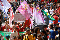 Manifestantes em passeata durante a greve geral em todo país contra as reformas propostas pelo governo Temer.<br /> Belém, Pará, Brasil.<br /> Foto Eduardo Kalif<br /> 28 04 2017