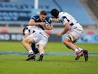 29th August 2020; AJ Bell Stadium, Salford, Lancashire, England; English Premiership Rugby, Sale Sharks versus Bristol Bears;  Will Cliff of Sale Sharks is tackled by Bristol Bears