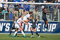 Cary, North Carolina - Sunday December 6, 2015: Elizabeth Ball (7) of the Penn State Nittany Lions heads the ball out of the box during second half action against the Duke Blue Devils at the 2015 NCAA Women's College Cup at WakeMed Soccer Park.  The Nittany Lions defeated the Blue Devils 1-0.