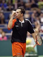 24-2-06, Netherlands, tennis, Rotterdam, ABNAMROWTT, Radek Stepanek defeats Novak Djokovic en jubilates