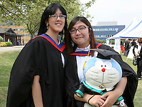 Happy graduates with mascot, University of Surrey.