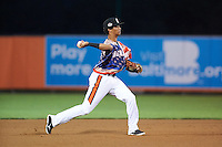 Aberdeen Ironbirds shortstop Ricardo Andujar (18) throws to first during a game against the Tri-City ValleyCats on August 6, 2015 at Ripken Stadium in Aberdeen, Maryland.  Tri-City defeated Aberdeen 5-0 in a combined no-hitter.  (Mike Janes/Four Seam Images)