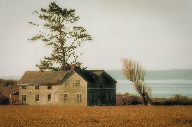Historic farm building at Ebbey's Landing, Whidbey Island, Washington.