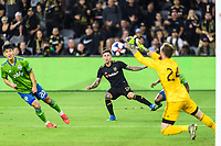 Los Angeles, CA - October 24, 2019.  Seattle Sounders FC defeated LAFC 3 - 1 in the Western Conference Championship match at Banc of California Stadium in Los Angeles.  Stefan Frei blocks a shot by Brian Rodriguez.