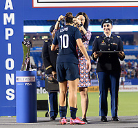 FRISCO, TX - MARCH 11: Carli Lloyd #10 of the United States receives her medal during a game between Japan and USWNT at Toyota Stadium on March 11, 2020 in Frisco, Texas.