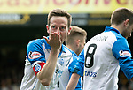 Motherwell v St Johnstone…05.05.18…  Fir Park    SPFL<br />Steven MacLean celebrates his first goal blowing a kiss to his daughter<br />Picture by Graeme Hart. <br />Copyright Perthshire Picture Agency<br />Tel: 01738 623350  Mobile: 07990 594431