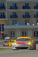 12-15 March 2008, Sebring, Florida, USA.The #45 Flying Lizard Porsche heads out of the Hairpin chicane..©F.Peirce Williams 2008, USA .