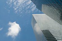 Upward View of Office Buildings and Clouds in Midtown Manhattan, New York City, New York State, USA<br />
