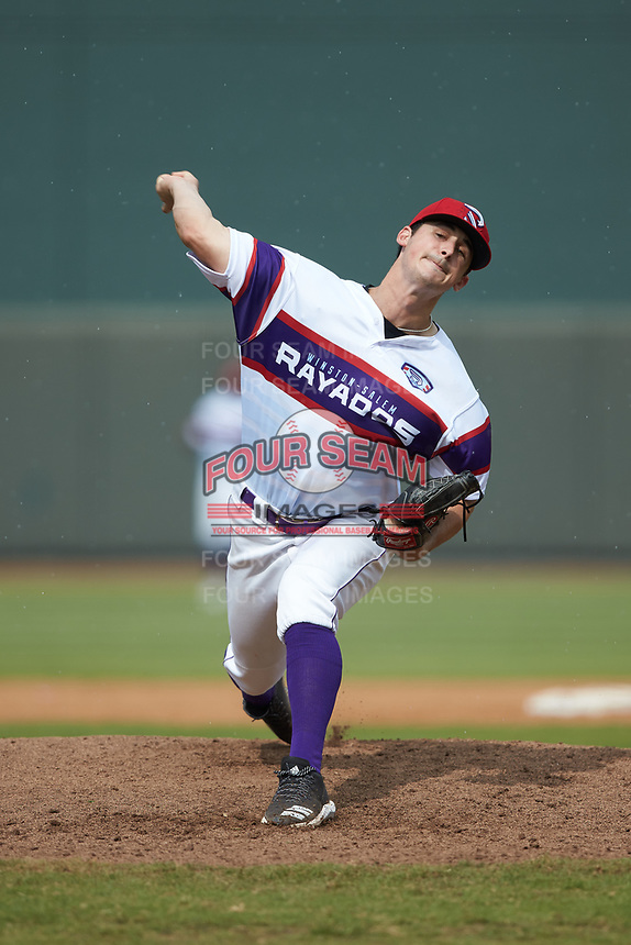 Winston-Salem Rayados relief pitcher Danny Dopico (22) in action against the Potomac Nationals at BB&T Ballpark on August 12, 2018 in Winston-Salem, North Carolina. The Rayados defeated the Nationals 6-3. (Brian Westerholt/Four Seam Images)