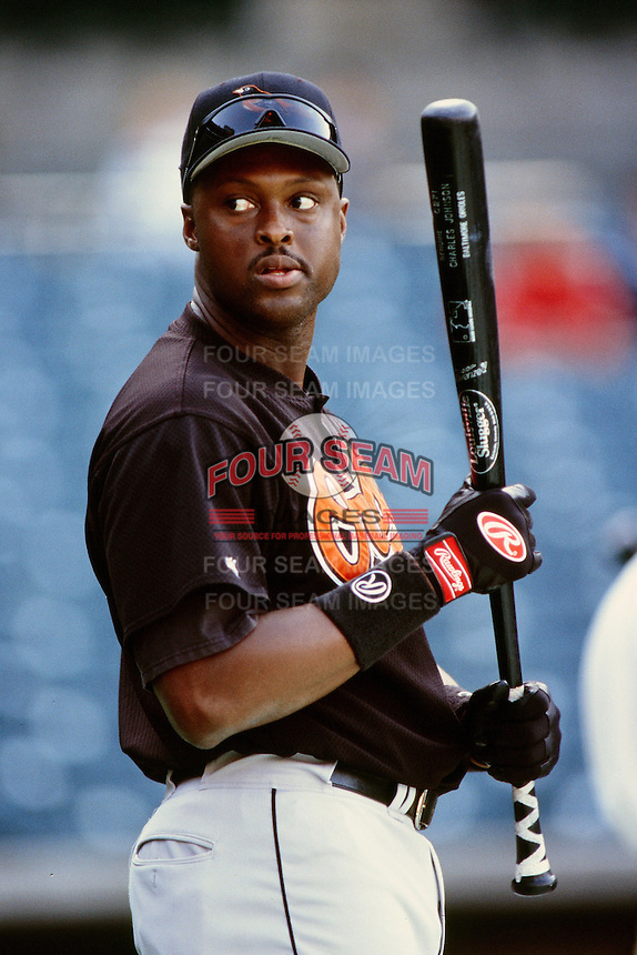 Charles Johnson of the Baltimore Orioles during a game against the Anaheim Angels at Angel Stadium circa 1999 in Anaheim, California. (Larry Goren/Four Seam Images)