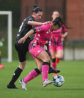 Jessica Valdebenito Silva (18) of Charleroi and Osma Magaly Guiteras (28) of Woluwe  pictured during a female soccer game between Sporting Charleroi and White Star Woluwe on the 7 th matchday in play off 2 of the 2020 - 2021 season of Belgian Scooore Womens Super League , friday 14 th of May 2021  in Marcinelle , Belgium . PHOTO SPORTPIX.BE | SPP | Sevil Oktem