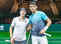 Rotterdam, The Netherlands, 12 Februari 2019, ABNAMRO World Tennis Tournament, Ahoy, first round singles: Denis Shapovalov (CAN) - Franko Skugor (CRO),<br />