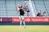 CARY, NC - SEPTEMBER 12: Christine Sinclair #12 of the Portland Thorns heads the ball before a game between Portland Thorns FC and North Carolina Courage at WakeMed Soccer Park on September 12, 2021 in Cary, North Carolina.