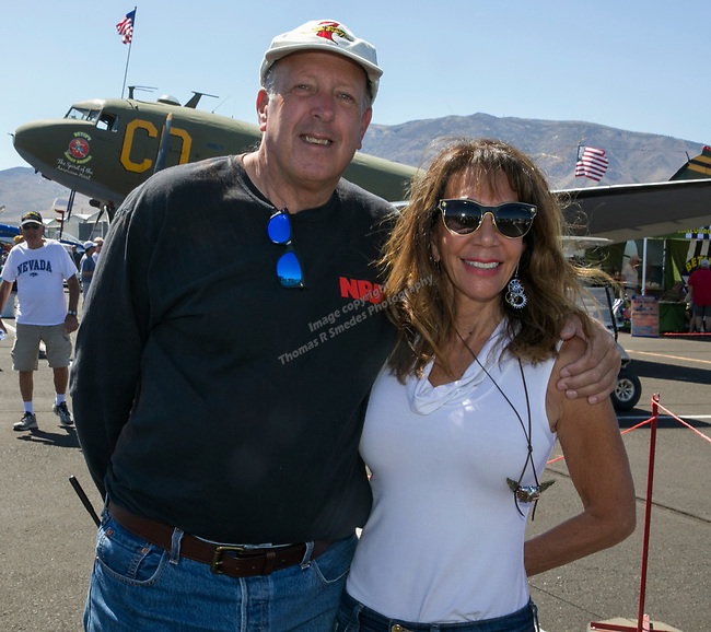 Rex Wait and Diane Monroe during the National Championship Air Races in Reno, Nevada on Saturday, Sept. 14, 2019.