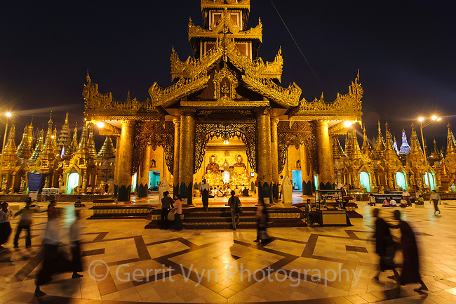 Shwedagon Pagoda at night. Myanmar.