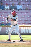Reggie Pruitt (13) of the Vancouver Canadians bats against the Salem-Keizer Volcanoes at Volcanoes Stadium on July 24, 2017 in Keizer, Oregon. Salem-Keizer defeated Vancouver, 4-3. (Larry Goren/Four Seam Images)