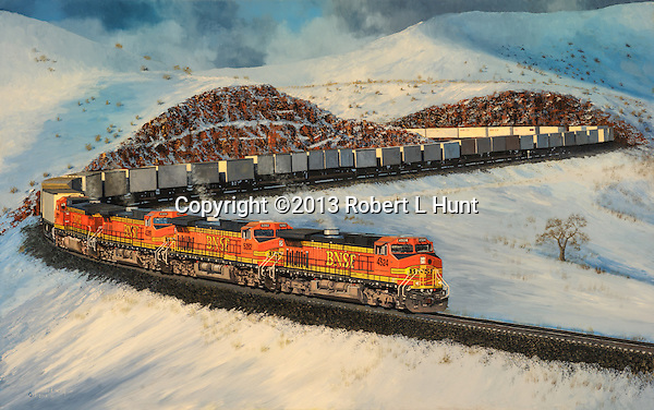 """Mountain railroading in the high Sierras on Christmas Day, BNSF units letting a container train run a  downhill slope. Oil on canvas, 23.5"""" x 37""""."""