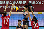 Wing spiker Yurie Nabeya (C) of Japan spikes the ball during the FIVB Volleyball World Grand Prix - Hong Kong 2017 match between Japan and Russia on 23 July 2017, in Hong Kong, China. Photo by Yu Chun Christopher Wong / Power Sport Images