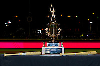 """The California-Carolina League All-Star trophy sits on a table between the 2 """"Top Star"""" awards following the conclusion of the 2012 California-Carolina League All-Star Game at BB&T Ballpark on June 19, 2012 in Winston-Salem, North Carolina.  The Carolina League defeated the California League 9-1.  (Brian Westerholt/Four Seam Images)"""