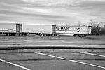 Wal-Mart trailer in interstate parking lot.