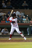Scottsdale Scorpions shortstop Alfredo Rodriguez (3), of the Cincinnati Reds organization, at bat during an Arizona Fall League game against the Salt River Rafters at Scottsdale Stadium on October 12, 2018 in Scottsdale, Arizona. Scottsdale defeated Salt River 6-2. (Zachary Lucy/Four Seam Images)