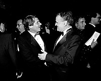 Montreal mayor Jean Dore (L) and Serge Losique attend the opening of the  (Montreal) World Film Festival on August 21, 1987.<br /> <br /> File Photo : Agence Quebec Presse - Pierre Roussel
