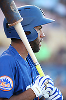 Amed Rosario (1) of the Las Vegas 51s waits to bat during a game against the Sacramento River Cats at Cashman Field on June 15, 2017 in Las Vegas, Nevada. Las Vegas defeated Sacramento, 12-4. (Larry Goren/Four Seam Images)
