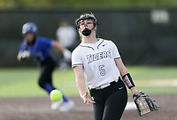 Bentonville pitcher McKenzie Vaughan (5) throws a pitch, Thursday, April 29, 2021 during a softball game at Bentonville High School in Bentonville. Check out nwaonline.com/210430Daily/ for today's photo gallery. <br /> (NWA Democrat-Gazette/Charlie Kaijo)