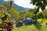 Kobarid, Soca Valley, Julian Alps, Slovenia, July 2012. Camp Vili camping in Volarje near Tolmin.  Slovenia boasts a very spectacular carstic landscape with high limestone rock formations oozing with waterfalls, and fast flowing cristal clear waters that run through the Soca from the Triglav National Park to the Adriatic Sea. The Julian Alps are a paradise for outdoor adventure and adrenaline sports. The 3 centers for all activities are Bovec, Kobarid and Tolmin. Photo by Frits Meyst/Adventure4ever.com