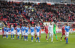 Aberdeen v St Johnstone…10.12.16     Pittodrie    SPFL<br />Steven Anderson leads saints out at Pittodrie<br />Picture by Graeme Hart.<br />Copyright Perthshire Picture Agency<br />Tel: 01738 623350  Mobile: 07990 594431