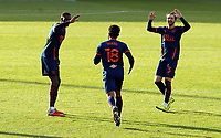 Blackpool's Grant Ward (Ctr) celebrates with team-mates after scoring his side's equalising goal to make the score 1 - 1<br /> <br /> Photographer Rich Linley/CameraSport<br /> <br /> The EFL Sky Bet League One - Crewe Alexandra v Blackpool - Saturday 17th October 2020 - Gresty Road - Crewe<br /> <br /> World Copyright © 2020 CameraSport. All rights reserved. 43 Linden Ave. Countesthorpe. Leicester. England. LE8 5PG - Tel: +44 (0) 116 277 4147 - admin@camerasport.com - www.camerasport.com