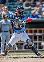 23 June 2019: New Hampshire Fisher Cats catcher Riley Adams in action against the Trenton Thunder at Northeast Delta Dental Stadium in Manchester, NH. The Thunder defeated the Fisher Cats 5-2 in Eastern League play. Mandatory Credit: Ed Wolfstein Photo *** RAW (NEF) Image File Available ***