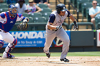 Colorado Springs Sky Sox outfielder Hernan Iribarren (2) runs to first base against the Round Rock Express in the Pacific Coast League baseball game on May 19, 2013 at the Dell Diamond in Round Rock, Texas. Colorado Springs defeated Round Rock 3-1 in 10 innings. (Andrew Woolley/Four Seam Images).