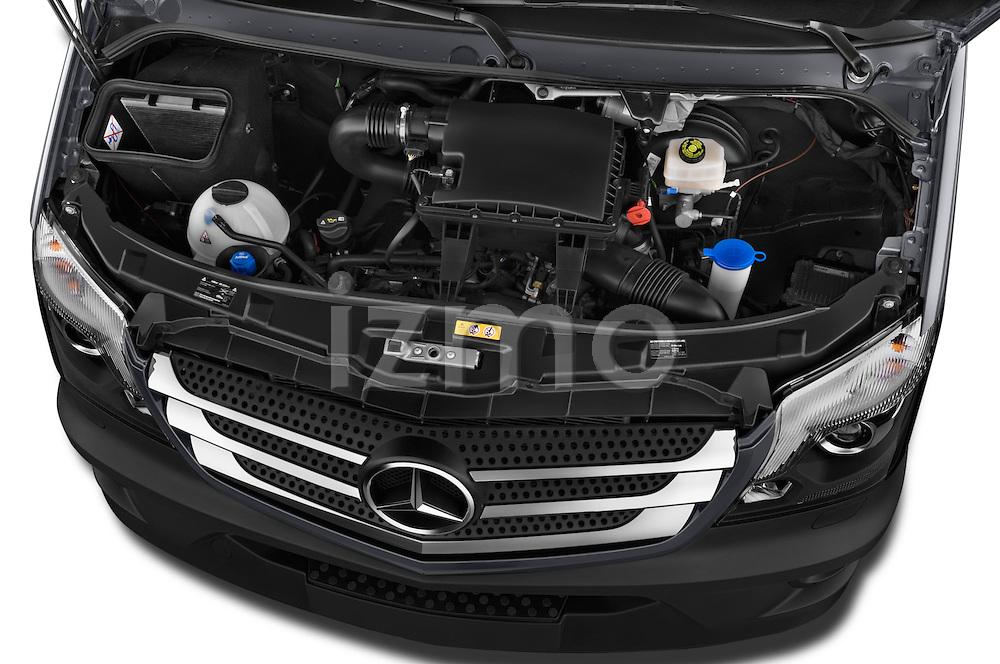 Car Stock 2016 Mercedes Benz Sprinter-Cargo-Van 2500-144-WB-High-Roof 4 Door Cargo Van Engine  high angle detail view