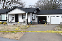 The site of an officer involved shooting is shown, Sunday, January 10, 2021 at the 720 NW 6th St. in Bentonville. Police officers shot and killed a man early Sunday morning during a domestic disturbance, according to a news release from the police department. Check out nwaonline.com/210111Daily/ for today's photo gallery. <br /> (NWA Democrat-Gazette/Charlie Kaijo)