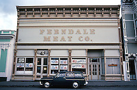Ferndale CA: Ferndale Meat Market, early 1880's. One-story building with false front in the Eastlake style.  Photo '83.