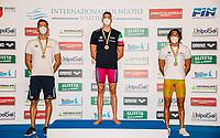 (L to R) VENDRAME Ivano silver, MIRESSI Alessandro Gold, FRIGO Manuel bronze<br /> 100 Freestyle Men podium<br /> Roma 12/08/2020 Foro Italico <br /> FIN 57 Trofeo Sette Colli - Campionati Assoluti 2020 Internazionali d'Italia<br /> Photo Giorgio Scala/DBM/Insidefoto