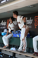 SAN FRANCISCO, CA - APRIL 27:  Christian Arroyo #22 of the San Francisco Giants stands in the dugout during the game against the Los Angeles Dodgers at AT&T Park on Thursday, April 27, 2017 in San Francisco, California. (Photo by Brad Mangin)