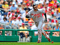 24 May 2009: Baltimore Orioles' right fielder Nick Markakis on the base path during a game against the Washington Nationals at Nationals Park in Washington, DC. The Nationals rallied to defeat the Orioles 8-5 and salvage a win in their interleague series. Mandatory Credit: Ed Wolfstein Photo