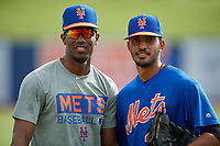 GCL Mets pitchers Julian Sierra (left) and Eric Villanueva (49) pose for a photo before the first game of a doubleheader against the GCL Nationals on July 22, 2017 at The Ballpark of the Palm Beaches in Palm Beach, Florida.  GCL Mets defeated the GCL Nationals 1-0 in a seven inning game that originally started on July 17th.  (Mike Janes/Four Seam Images)