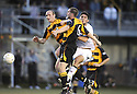 25/08/2009  Copyright  Pic : James Stewart.sct_jspa05_alloa_v_dundee_utd  .SCOTT WALKER AND JOHN GRANT COMBINE TO STOP ANDIS SHALA.James Stewart Photography 19 Carronlea Drive, Falkirk. FK2 8DN      Vat Reg No. 607 6932 25.Telephone      : +44 (0)1324 570291 .Mobile              : +44 (0)7721 416997.E-mail  :  jim@jspa.co.uk.If you require further information then contact Jim Stewart on any of the numbers above.........
