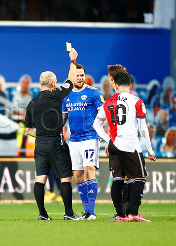 31st October 2020; The Kiyan Prince Foundation Stadium, London, England; English Football League Championship Football, Queen Park Rangers versus Cardiff City; A yellow card for Lee Tomlin of Cardiff City who looks confused at the decision